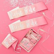 Pink Iridescent Foil Bride Tribe Sashes x 6